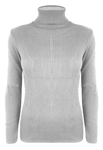 New Womens Ladies Plain Ribbed Polo Turtle Neck Stretch Long Sleeve Top Jumper
