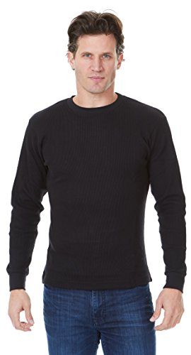 Dry Heavyweight Thermal Crewneck Top - Unique Styles Mens Thermal Top Heavyweight Long Sleeve Waffle Weave Crew Neck (2XL, Black)