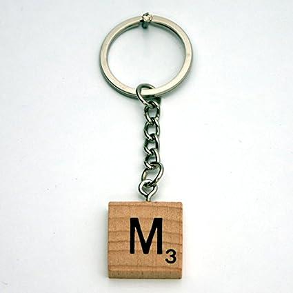 Madera letra alfabética Juego estilo azulejos llavero M ...