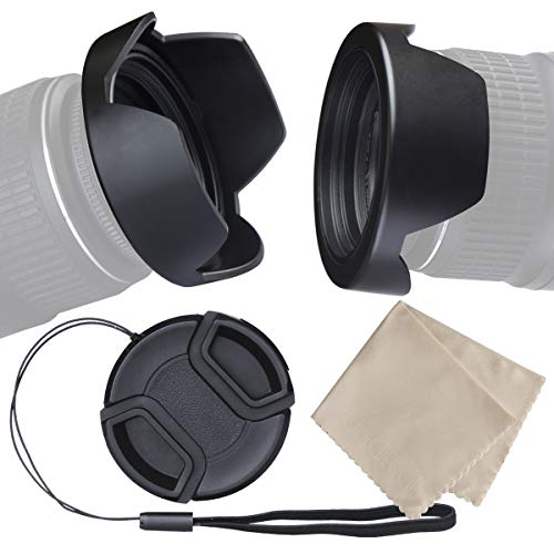 waka 55mm Camera Lens Hood Set, Reversible Tulip Flower Lens Hood + Center Pinch Lens Cap with Cap Keeper Leash + Microfiber Lens Cleaning Cloth for Nikon, Canon, Sony & Other DSLR Cameras