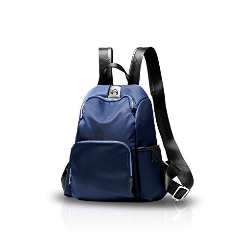 (NICOLE&DORIS Girl College School Bag Travel Backpack Daypack Shoulder Fashion Durable Light Weight Waterproof Oxford Navy Blue)