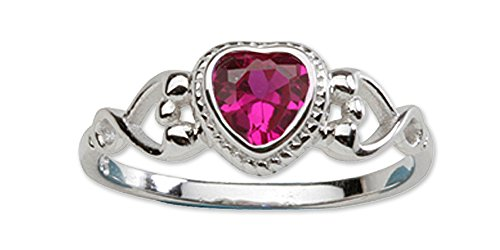 CZ Simulated Birthstone Baby Ring with Heart (Heart Childrens Ring Jewelry)