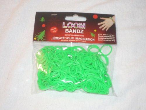 D.I.Y. / LOOM BANDS / LOOM BANDZ-- NEON DARK GREEN 300 COUNT BAG- RARE COLORS