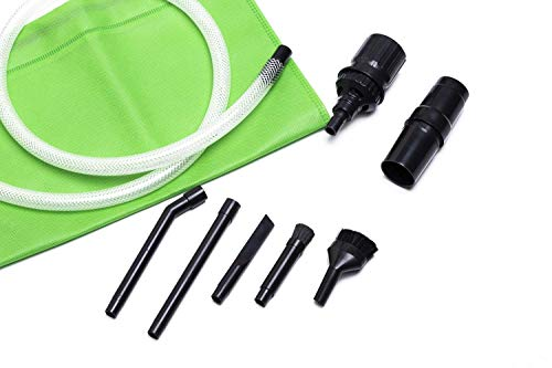 Green Label Micro Vacuum Attachment Kit - 7 Piece Compatible with Most Vacuum Cleaner Hoses with 1.25-1.38 Inch Diameter (Round Friction Fit Type Wands). Green Storage Bag