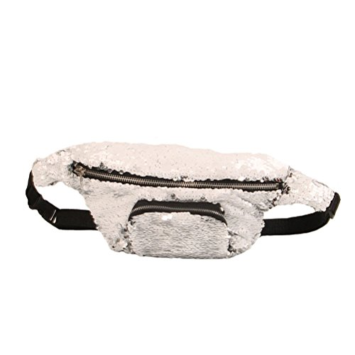 Tinksky Sequins Taille Tasche Kosmetik Makeup Fanny Pack Lässige Sport Taille Tasche Multifunktionale Taille Packs (Silber)
