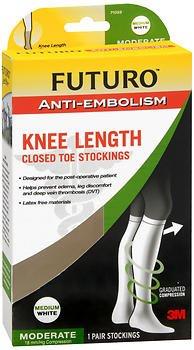 Futuro Anti-Embolism Knee Length Closed Toe Stockings Medium White Moderate, Pack of 2