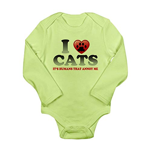 (Royal Lion Long Sleeve Infant Bodysuit Love Cats It's Humans That Annoy Me - Kiwi, 12 to 18 Months)