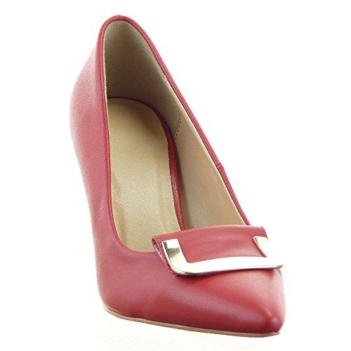 Sopily - Zapatillas de Moda Tacón escarpín Stiletto decollete Tobillo mujer metálico Talón Tacón de aguja alto 8.5 CM - Rojo