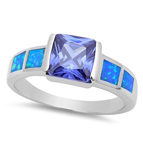 Blue Ring Lab Opal (Sterling Silver Bar Setting Simulated Tanzanite Ring With Lab Created Blue Opals - Size 8)