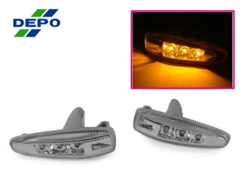 DEPO 08-14 MITSUBISHI LANCER EVO 10 X CLEAR LED FENDER SIDE MARKER LIGHTS JDM STYLE
