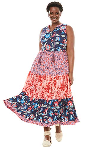 Woman Within Women's Plus Size A-Line Maxi Dress - Flamingo Pink Print, 16 W