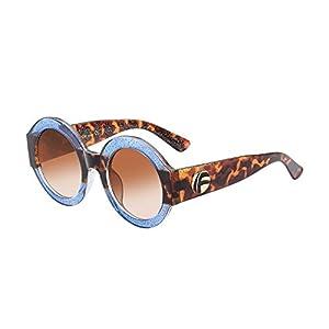 UV- Oversized Round Sunglasses Women Multi Tinted Frame,Fashion Trend Sunglasses (blue frame)