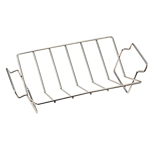Large Rib Rack (BBQ Stainless Steel V Rib Rack Work for Big Green Egg, Primo,Vision, Kamado Ceramic Grills all Indoor Ovens Egg Accessories for Smoker Roasting True Rack Charcoal Cooking)