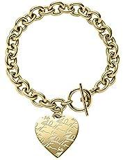 Michael Kors Women's Gold-Tone Signature Heart Bracelet (Model: MKJ3963710)