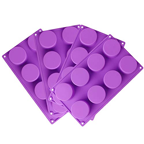 RETON 8-Cavity Round Shape Silicone Mold for Soap, Cake, Bread, Cupcake, Cheesecake, Cornbread, Muffin, Brownie, and More (Round, 4 Pack)