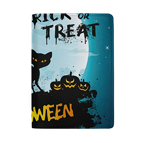 Full Moon Night Halloween Cat Pumpkin Leather Passport Holder Cover Case Protector for Men Women Travel with Slots