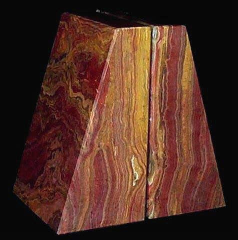 Khan Imports Decorative Red Onyx Stone Bookends, Heavy Office Marble Bookends - Large by Khan Imports