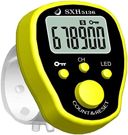 Color: Yellow Fincos SXH-5136X Stitch Marker Row Finger Counter LCD Electric Digital Display with LED Light for Sewing Knitting Weave Tool or Buddha Pray
