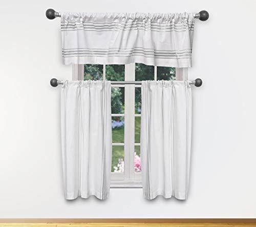 DESIGNER LINENS Metallic Stripe Tier & Valance Set - Window Curtain for Living Room, Bedroom - White & Silver