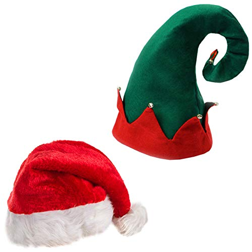 Santa Hats - Christmas Hats - Elf Hat With Bells - Christmas Party Hats - (2 Pack) Holiday Hats