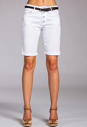Bst005 Cotone Di Shorts Donna Bianco Caspar 6nBqAWq