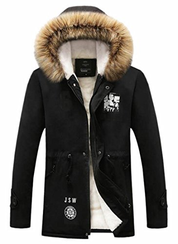 Hooded Thicken Jackets Black Outwear Warm Coats UK Lined Faux Fur Winter Men's today vUEwx7P8
