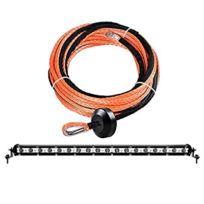 """54W White 19"""" CREE LED Work Light Bar Spot Flood Beam Mounting Brackets and 50' x 1/4"""" 6400lbs Orange Synthetic Winch Rope Cable with Rubber Stopper ATV UTV SUV"""