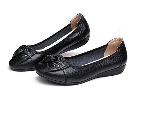 Minetom Verano Mocasines Mujer Cómodo Piso Zapatos de Conducción con Bowknot Casual Planas Cuero Loafers Zapatillas Negro