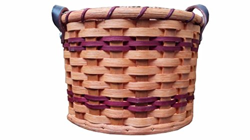 Hand Woven Apple Basket With Leather Handles Small , Amish Made In USA