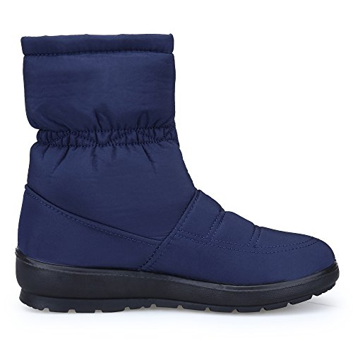 Lined Snow Fur Faux Womens KOUDYEN Winter Blue Boots Boots Warm YwZ0qH