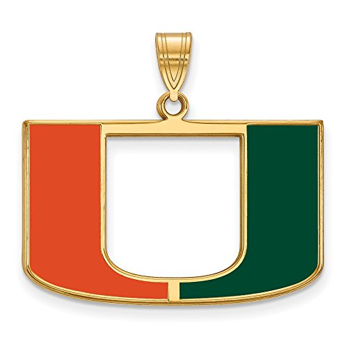 Sterling Silver w/ 14K Yellow Gold-Plated LogoArt Official Licensed Collegiate University of Miami (UM) Large Enamel (Solid 14k Gold University Seal)