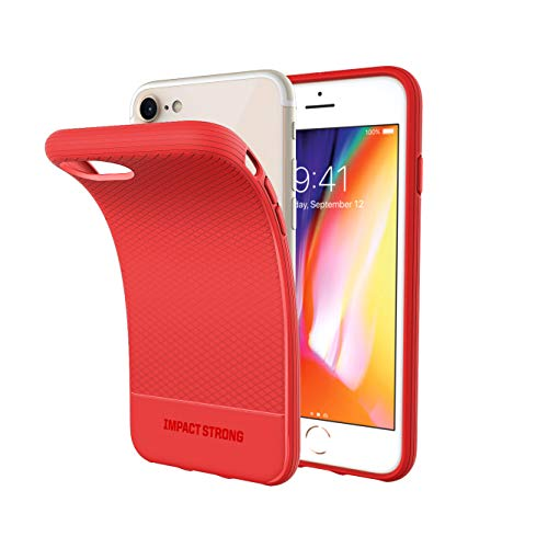 Red Rubber Cell Phone - iPhone 7/8 Case, ImpactStrong Liquid Shield Silicone Rubber Shock-Absorbing Scratch-Resistant Cover for Apple iPhone 7 & iPhone 8 (4.7 inch) - Red