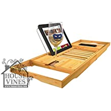 Luxury Bathtub Caddy Tray with Extending Sides ~ Bamboo Wood ~ Reading Rack Kindle/Book Holder ~ iPad / iPhone Holder ~ Gifts for Wine Lovers ~ Includes sample wine charm ~ by HouseVines