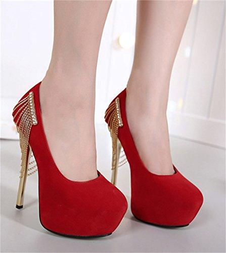 Imperméables Xianshu à à Métal Chaîne Rouge La en Chaussures Women Talons Metal Hauts Beautiful qtxFzcUw