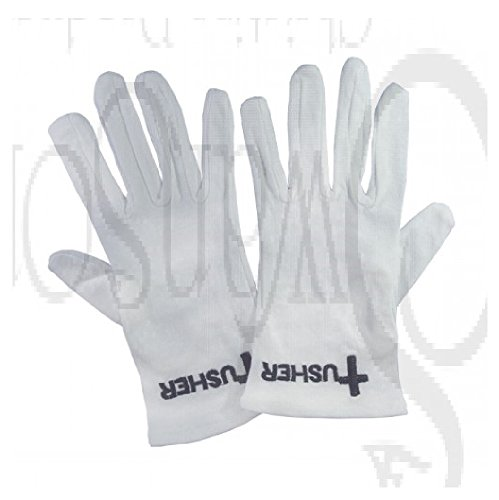 White Cotton Church Gloves With Black Embroidered USHER & Cross Emblem (X-LARGE) by Swanson