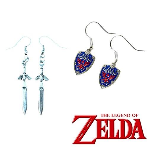 J&C Family OwnedThe Legend of Zelda Hylian Shield & Master Sword (2-Pair ) Cute Girl Charm Earrings - Hamilton Sword