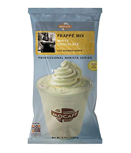 MOCAFE Frappe White Chocolate Ice Blended Frappe, 3-Pound Bag Instant Frappe Mix, Coffee House Style Blended Drink Used in Coffee Shops