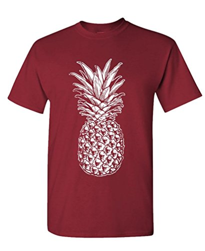 Retro Cloth - SKULL PINEAPPLE - retro style hipster - Mens Cotton T-Shirt, L, Maroon
