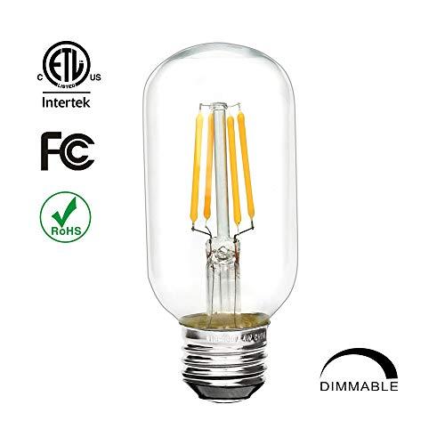 (OSEM T45 4W Deep Dimmable Non-Flicking Vintage Retro Tube LED Filament Bulb E26 Cap,2700K,300 Lumens, Warm White for Lighting Decoration, FCC,ETL Listed 40W Incandescent Equivalent (1 Pack))