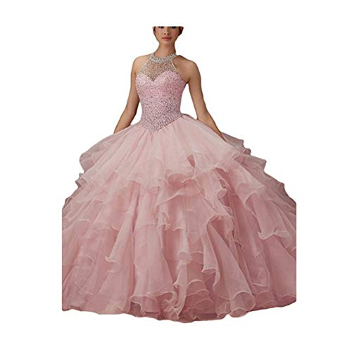 WHZZ Halter Neck Heavy Beaded Organza Quinceanera Dresses White Sweet 16 Ball Gowns ()