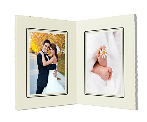 Golden State Art, Cardboard Photo Folder For Double 4x6 Photo (Pack of 50) GS004 Ivory Color by Golden State Art