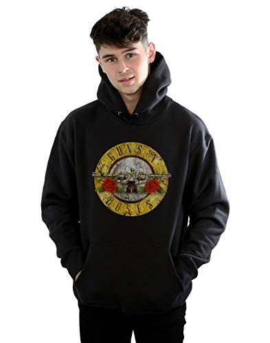 Guns N Roses Men's Vintage Bullet Logo Hoodie Large Black