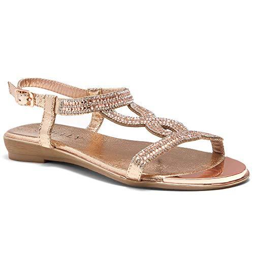Herstyle Women's Caterinnaa Rhinestone Bohemian Slip On Flip Flops Shoes Strap Gladiator Toe Loop Flat Sandals Rosegold/Silver 8.5