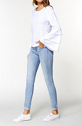 Shirts Sweat Mode Blouse Flare Sleeve Chemisiers Femmes Pulls Freestyle Tops Unie Shirts Casual Col Automne Couleur Jeune Hauts Printemps Shirts Blanc et T Rond ZCxxwRnBUq
