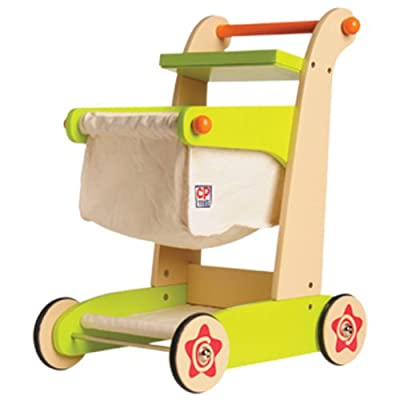 CP Toys Kid-sized Wooden Shopping Cart - For Pretend Play