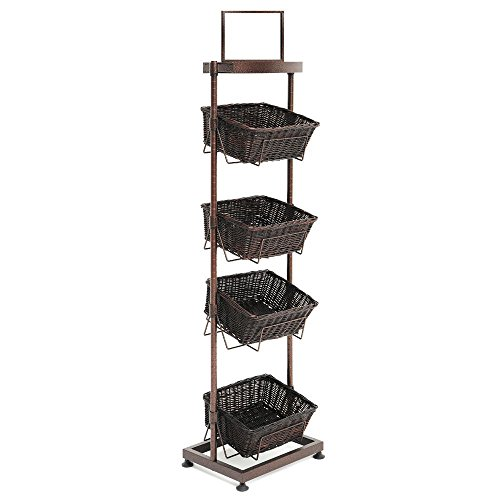 4-Basket Merchandising Display Stand Metal Espresso - 18 1/2''L x 14''W x 67''H by Mobile Merchandisers