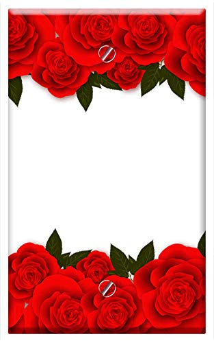 (Single-Gang Blank Wall Plate Cover - Roses Flowers Red Rose Banner Postcard For Web)