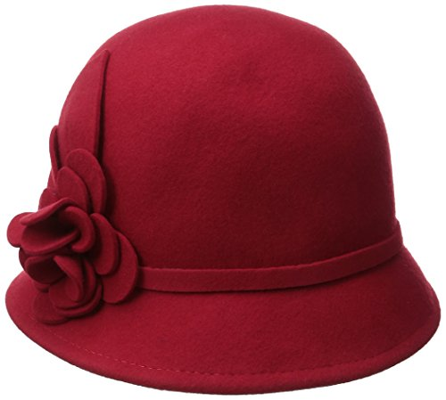 Nine West Women's Felt Cloche Hat with Self Flower, Red, One Size ()