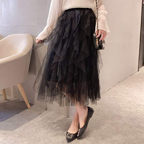 2019 Women A-Line Skirt Princess Long Skirt Tutu Tulle Petticoat Petticoat Basic Irregular Pleated Ball Gown Skirts (Black, Free Size) by Tanlo (Image #3)