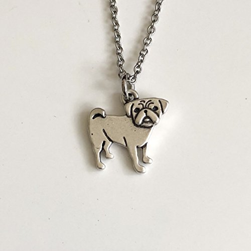 Pug Necklace - Pug Necklace on Stainless Steel Chain - Pug Dog Breed Jewelry - Dog Mom Gift